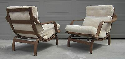 Pair Charlton bentwood plywood lounge chairs Baughman danish Bruno Mathsson