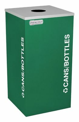 24 gal. Recycling Container Square, Green Steel, Plastic TOUGH GUY 5UJC4