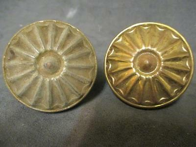 2 Antique Victorian Brass Sunburst Design #5 Doorknobs ks2