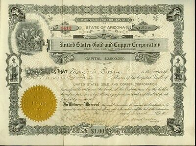 United States Gold & Copper Corp. Stock Certificate 1911