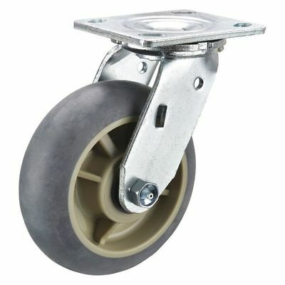 Swivel Plate Caster,Rubber,6 in,600 lb,Prcsn Bll ZORO SELECT P21S-RCP060KP-14-H7