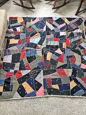 VINTAGE CRAZY QUILT TIED COMFORTER HAND EMBROIDERED 2 of 2