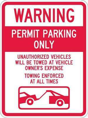 Sign,Warning Permit Parking,24 x18 In LYLE T1-1065-HI_18x24