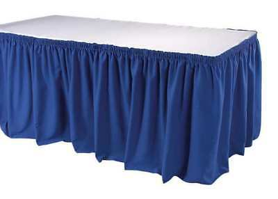 Table Skirting,21-1/2 Ft.,Shirred,Blue PHOENIX TSKT-21-BL