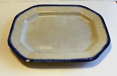 Antique 1800's Leeds Platter Blue Edge