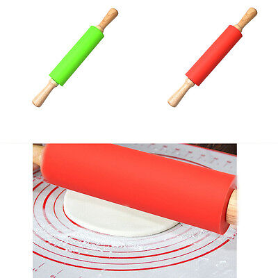 Vogue Wooden Silicone Rolling Pin Cake Decoration Dough Roller Baking Cooking