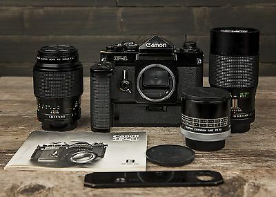 Canon F-1 35mm Camera With Power Winder, and 2 lenses