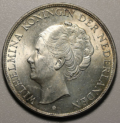 1931 Netherlands 2-1/2 Gulden KM# 165 2.5 G aUNC Coin Silver Crown Size