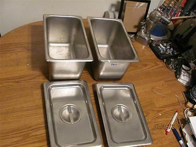 2 Commercial Don  Stainless Steel Steam Pans Inserts Third X 6 'd+2 Lids Used
