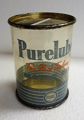 Vintage PURE PURELUBE MOTOR OIL Clear Can Advertising Bank