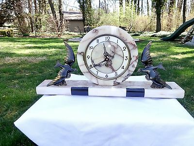 French Art Deco Marble Mantle Clock W/bronze Mounted Birds