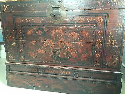 Folk Art Grain Painted & Florals Blanket Chest, Trunk, Coffee Table Antique
