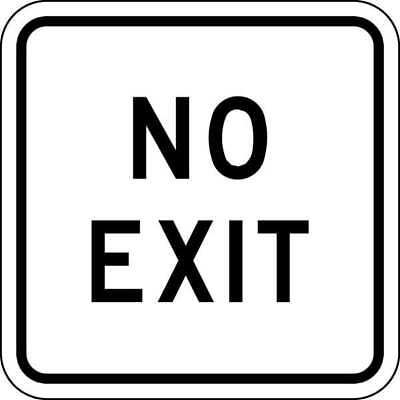 LYLE FA-022-18HA Traffic Sign, 18 x 18In, BK/WHT, No Exit