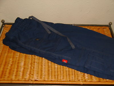 Unisex Dickies Scrub Pants Bottoms ~ Navy Blue Cargo Style ~ Size Small