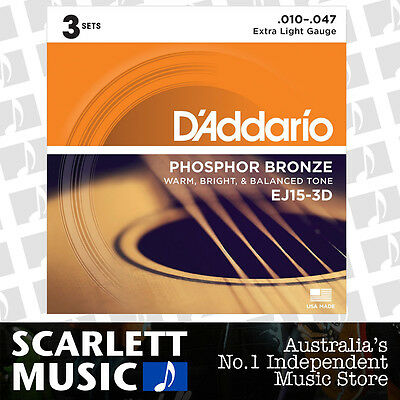 D'Addario EJ15-3D 10-47 Phos. Bronze Acoustic Guitar Strings *SET OF 3 PACKS*