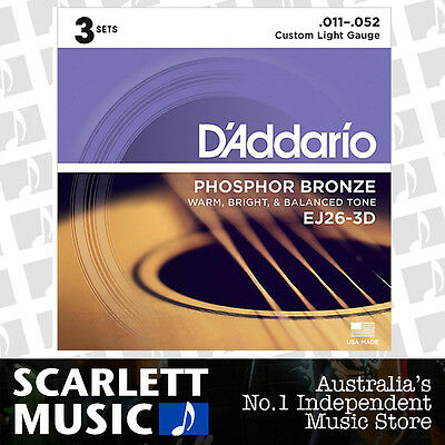 D'Addario EJ26-3D 11-52 Phos. Bronze Acoustic Guitar Strings *SET OF 3 PACKS*
