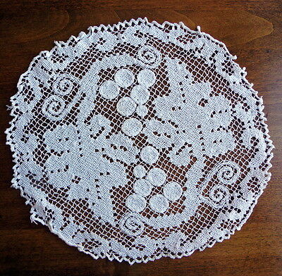 "7 Antique Italian Handmade Dessert Mats / Doilies TUSCANY GRAPES 10"" Filet Lace"