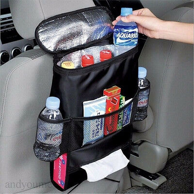 Car Auto Back Seat Organizer Holder Multi-Pocket Travel Storage Bag Hanger Black