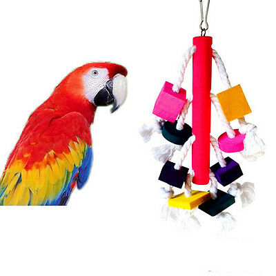 Unqiue Parrot Blocks Toy Cages African Grey Cockatoo Parakeet Chew Fun Toy