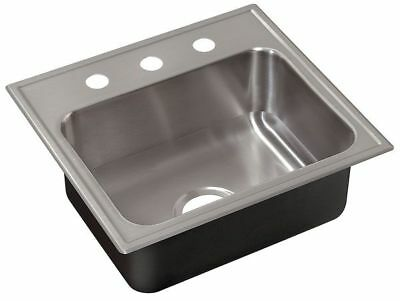 JUST MANUFACTURING SL-17519-A-GR-3 Drop-In Sink with Faucet Ledge,19 In. L