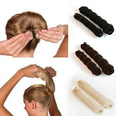2x New Magic Sponge Clip Foam Donut Hair Styling Bun Curler Makers Ring Twist AU