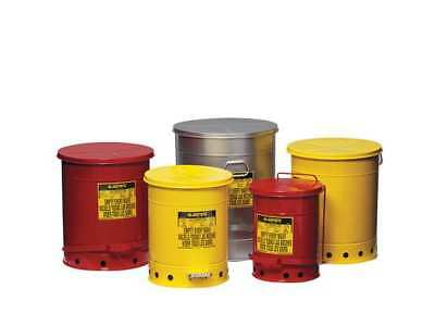 Oily Waste Can,10 Gal.,Steel,Red JUSTRITE 09308