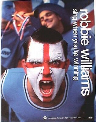 """ROBBIE WILLIAMS """"SING WHEN YOUR WINNING"""" U.S. PROMO POSTER - Face Painted Fan"""