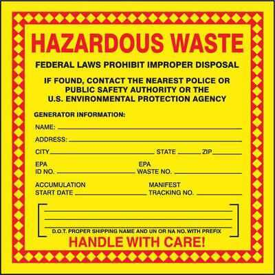 ACCUFORM SIGNS MHZW20EVC Hazardous Waste Label, Red/Yellow, PK 100