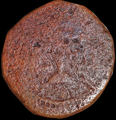 India Portuguese - Diu - 1 Atia (1748-1799) Copper Coin - Rare   #rz40