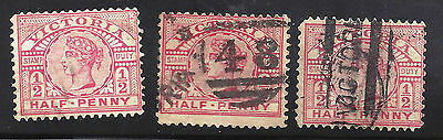 3 x Victorian halfpenny red stamps Queen Victoria used