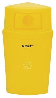 21 gal. Recycling Container Semi-Round, Yellow Plastic TOUGH GUY 5GUR0