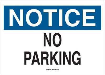 No Parking Sign,10x7,Black/Blue on White BRADY 122855
