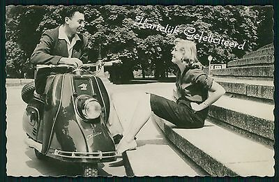 Motorcycle vespa scooter Love Pinup Pin Up original c1950s Photo postcard zzzz