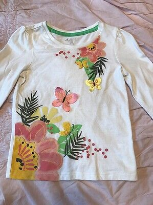 Baby Gap Toddler Girls Size 4T Floral, Butterfly Long Sleeve Tee Shirt EUC