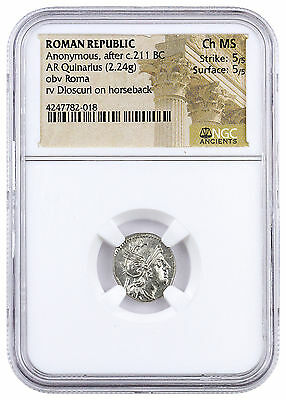 Roman Republic Silver Quinarius Anonymous Ruler Roma Dioscuri NGC CH MS SKU43472