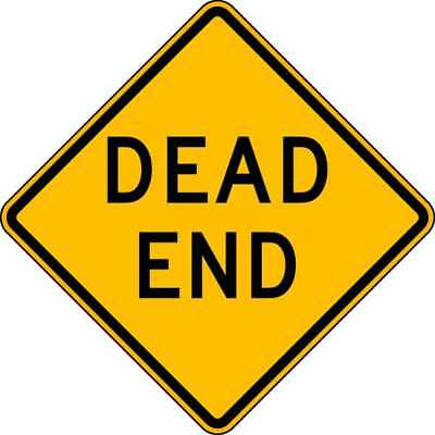 Traffic Sign,24 x 24In,BK/YEL,Dead End LYLE W14-1-24HA