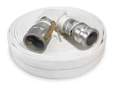 """ZORO SELECT 1ZMT8 1-1/2"""" ID x 50 ft Rubber Water Discharge Hose 125 PSI WT"""