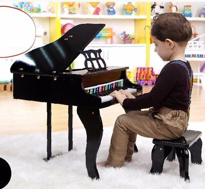 Childs Black Wooden Grand Piano Keybpard Toy Musical Instrument With Stool