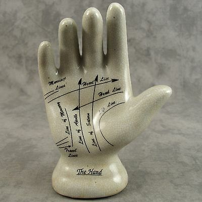 Porcelain Palmistry Hand Figure ~ Ancient Art Of Fortune Telling / Chiromancy ~