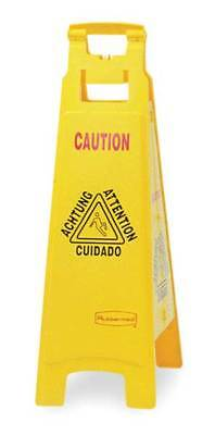 Floor Safety Sign,Caution,Eng/Sp/Fr/Grmn RUBBERMAID FG611400YEL