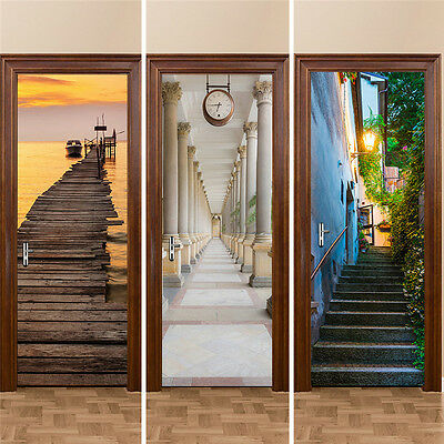 3D Landscape Door Sticker Wall Decal Set Door Vinyl Home Room Art Decor 77*200cm