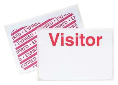 Visitor Badge,1 Day,Red/White,PK500 BRADY 95688