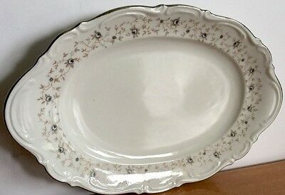 "Mittertiech Bavaria ""lady Linda"" Germany Large Oval Silver Rim Serving Platter"