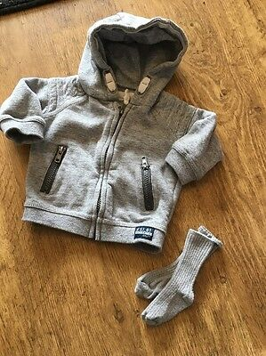 Baby Boys Hooded Jacket 3-6 Months And Socks Grey