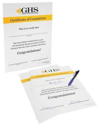 Certificate,Chemical/HAZMAT Trng,PK50 GHS SAFETY GHS1016