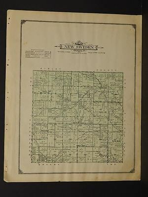 Minnesota Nicollet County Map New Sweden Township  1913  Y10#57