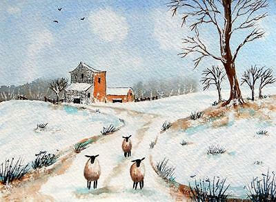 Original Watercolour Painting: ANIMALS: SHEEP IN THE SNOWY MEADOW