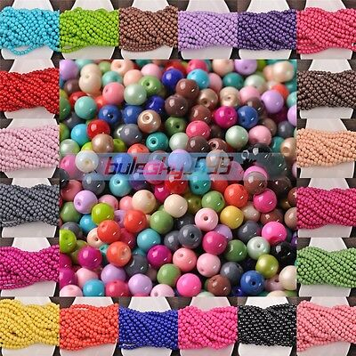 Wholesale Czech Opaque Coated Glass Round Loose Spacer Beads 4mm 6mm 8mm