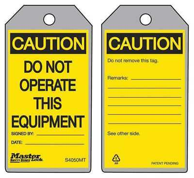 MASTER LOCK S4050MT Metal Detect Caution Tag,Gry,Ylw/Blk,PK6