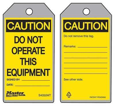 Metal Detect Caution Tag,Gry,Ylw/Blk,PK6 MASTER LOCK S4050MT
